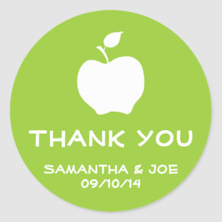 Apple Green and White Thank You Classic Round Sticker