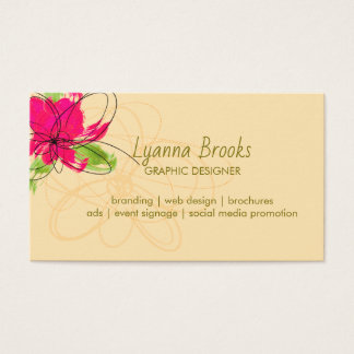 Apple Green Beige Crimson Floral Business Card