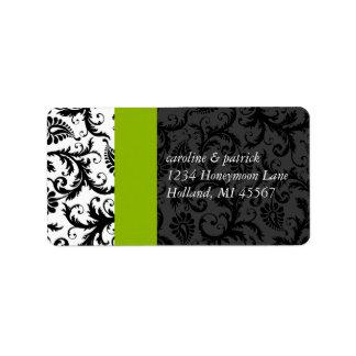 Apple Green & Black Damask  Address Labels -