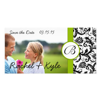 Apple Green Black Damask Save the Date Your Photo Card