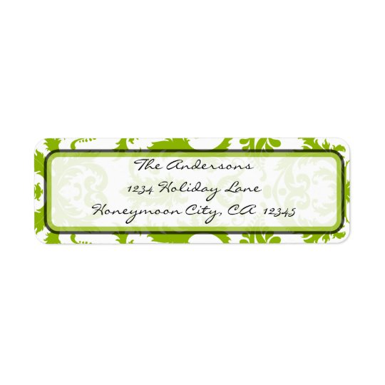Apple Green & Black Damask Swirl  Address Label
