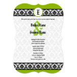 Apple Green & Black Damask Wedding Invitation