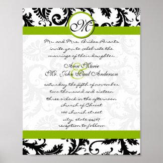Apple Green Black Damask Wedding Invitation Poster
