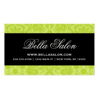 Apple Green & Black Elegant Vintage Damask Pack Of Standard Business Cards