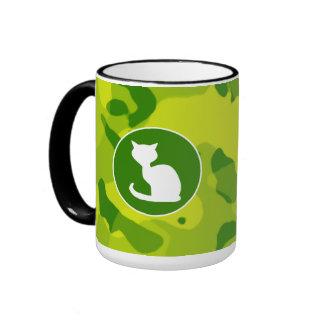 Apple Green Camo; White Cat Mugs