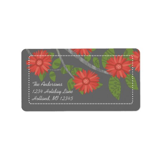 Apple Green Coral on Charcoal Return Address Label