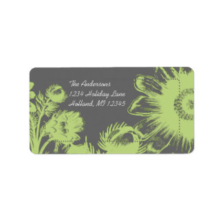 Apple Green Daisy on Charcoal Return Address Label