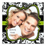 Apple Green Damask Swirls Wedding Save the Date Invite