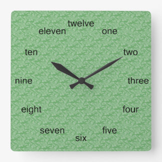 Apple Green Fractal-Style Square Wall Clock
