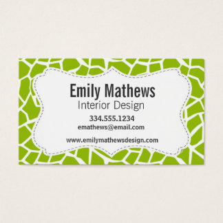 Apple Green Giraffe Animal Print Business Card
