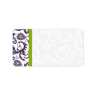 Apple Green & Lapis Purple Damask Dots Address Label