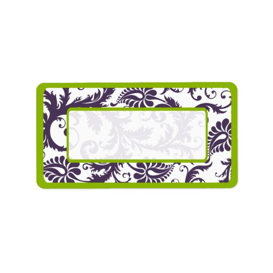 Apple Green & Lapis Purple Damask Dots Address Label