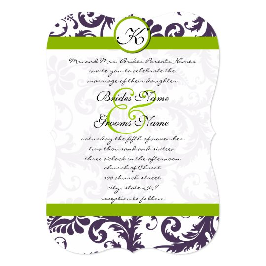 Apple Green Wedding Invitations: Apple Green Lapis Purple Damask Wedding Invitation