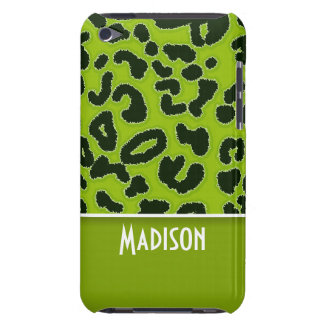 Apple Green Leopard Animal Print Personalized Barely There iPod Covers