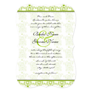 "Apple Green Love Birds Wedding Invitation 5"" X 7"" Invitation Card"