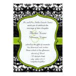 Apple Green LoveBird Vintage Damask Wedding Invite