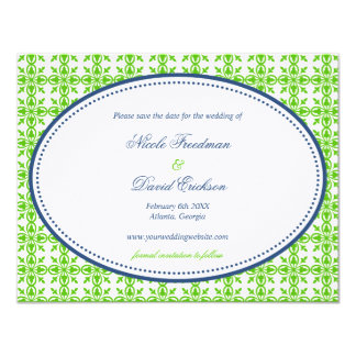 Apple green navy oval preppy wedding save the date card