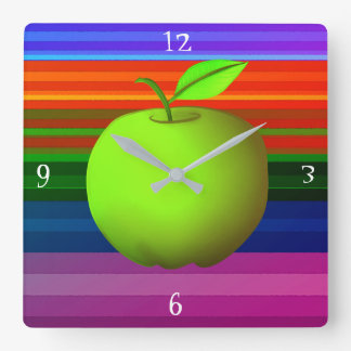 Apple Green Neon Vibrant  Fresh Colorful Stripes Square Wall Clock