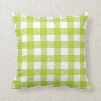 Apple Green Preppy Buffalo Check Plaid Cushion