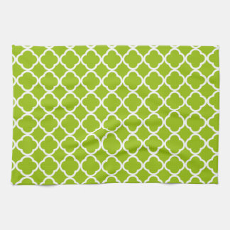 Apple Green Quatrefoil Tea Towel