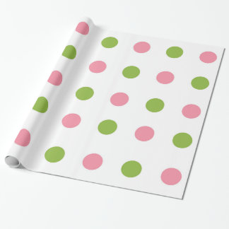 Apple Green Salmon Pink Polka Dot Wrapping Paper