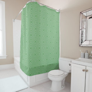 Apple Green Squiggly Square Shower Curtain