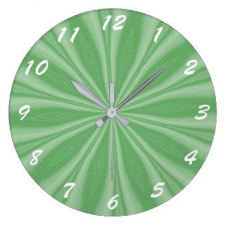 Apple Green Streaks Large Clock
