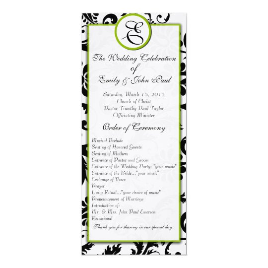 Apple Green Trim Black Damask  Wedding Program