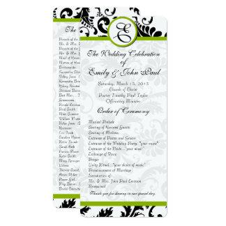 Apple Green Trim Black Damask  Wedding Program