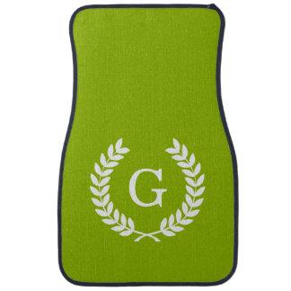 Apple Green Wheat Laurel Wreath Initial Monogram Car Mat