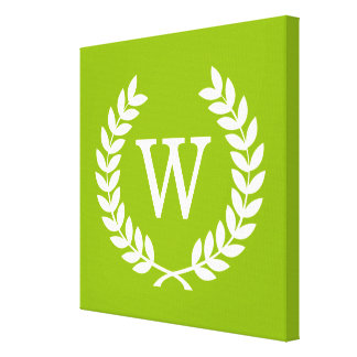 Apple Green Wheat Laurel Wreath Initial Monogram Gallery Wrapped Canvas
