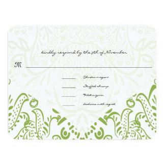 Apple Green Whimsical Bird Wedding Response Cards