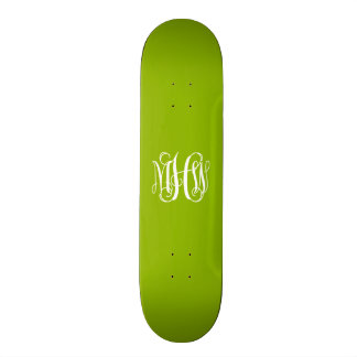 Apple Green White 3 Initials Vine Script Monogram Custom Skate Board