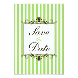 Apple Green, White, Brown Striped Save the Date Card