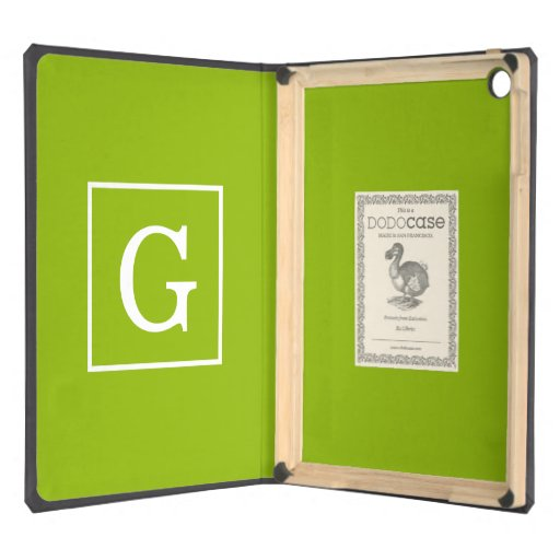 Apple Green White Framed Initial Monogram Cover For iPad Air