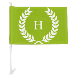 Apple Green White Laurel Wreath Initial Monogram Car Flag