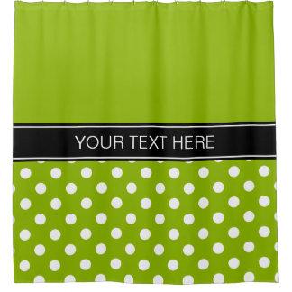Apple Green White LG Dot Black CB Name Monogram Shower Curtain
