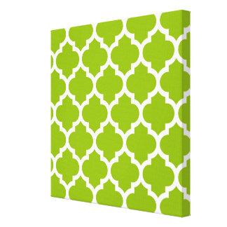 Apple Green White Moroccan Quatrefoil Pattern 5 Canvas Prints