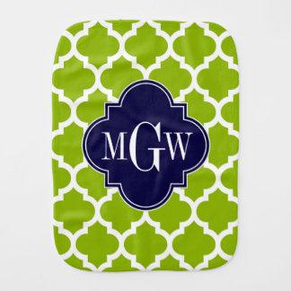 Apple Green Wt Moroccan #5 Navy 3 Initial Monogram Baby Burp Cloths