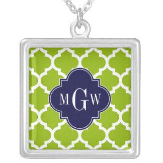 Apple Green Wt Moroccan #5 Navy 3 Initial Monogram Jewelry