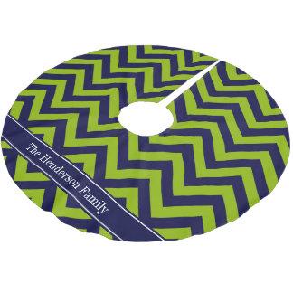 Apple Grn Navy LG Chevron Navy Blue Name Monogram Brushed Polyester Tree Skirt
