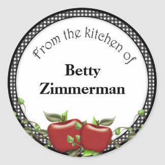 Apple Jar Label Personalized Round Sticker