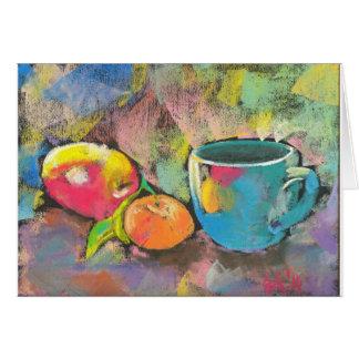 apple mandarine still life card