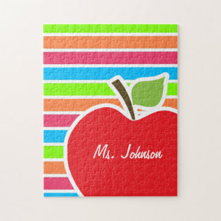 Apple; Neon Stripes; Pink Blue Green Jigsaw Puzzle
