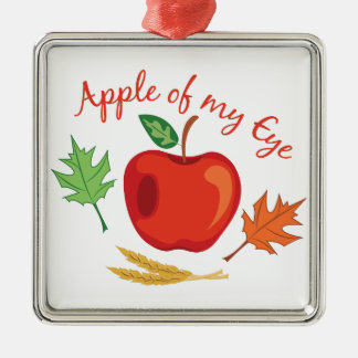 Apple Of Eye Silver-Colored Square Decoration