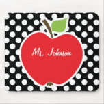 Apple on Black and White Polka Dots