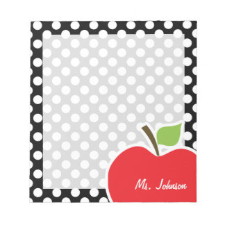 Apple on Black and White Polka Dots Notepad