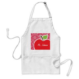 Apple on Crimson Damask Pattern Standard Apron