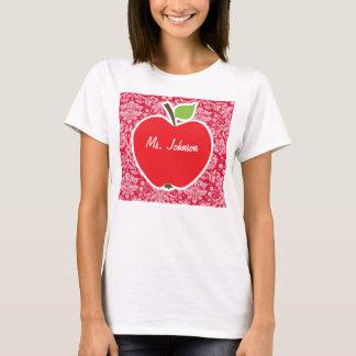Apple on Crimson Damask Pattern T-Shirt