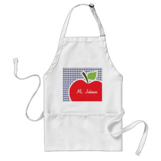 Apple on Dark Blue-Gray Houndstooth Aprons